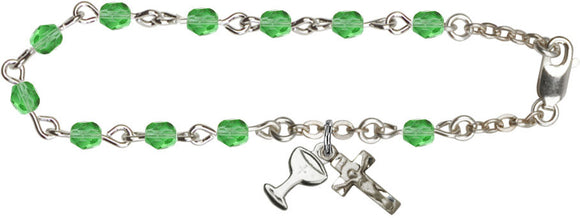 Girl's Silver-plated 1st Communion August Peridot Birthstone Crystal Bracelet with Chalice by Bliss
