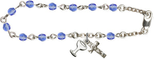 Girl's 1st Communion September Sapphire Birthstone Crystal Bracelet w/Chalice by Bliss
