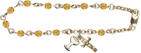 Girl's Gold 1st Communion November Topaz Birthstone Crystal Bracelet with Chalice by Bliss