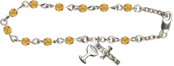 Girl's Silver-plated 1st Communion November Topaz Birthstone Crystal Bracelet with Chalice by Bliss