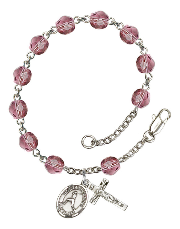 St Christopher Baseball Silver Plate Birthstone Rosary Bracelet by Bliss