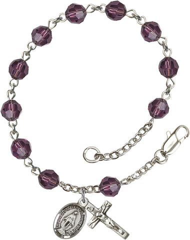Bliss Mfg Amethyst Swarovski 6mm Round Catholic Rosary Bracelet