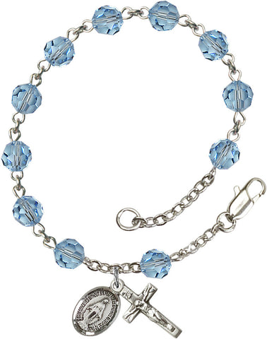 Bliss Mfg Aqua Swarovski 6mm Round Catholic Rosary Bracelet