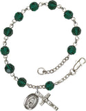 Bliss Mfg Emerald Green Swarovski Crystal 6mm Round Catholic Rosary Bracelet