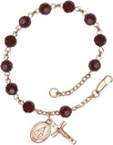 Bliss Mfg Garnet Swarovski Crystal 6mm Round Catholic Prayer Rosary Bracelet