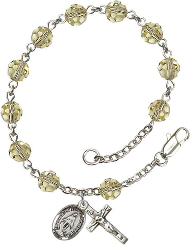 Bliss Mfg Jnoquil Yellow Swarovski Crystal 6mm Round Catholic Prayer Rosary Bracelet
