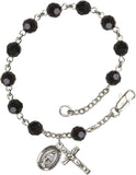 Bliss Mfg Jet Black Swarovski Crystal 6mm Round Catholic Prayer Rosary Bracelet