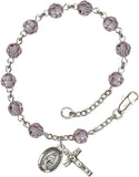 Bliss Mfg Light Amethyst Swarovski Crystal 6mm Round Catholic Prayer Rosary Bracelet