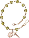Bliss Mfg Lime Swarovski Crystal 6mm Round Catholic Prayer Rosary Bracelet