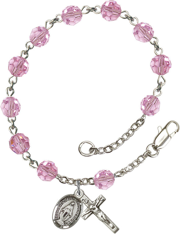 Bliss Mfg Light Rose Swarovski Crystal 6mm Round Catholic Prayer Rosary Bracelet
