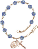 Bliss Mfg Light Sapphire Swarovski Crystal 6mm Round Catholic Prayer Rosary Bracelet