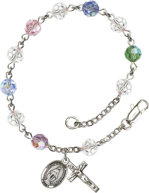 Bliss Mfg Multi-Color Swarovski Crystal 6mm Round Catholic Prayer Rosary Bracelet