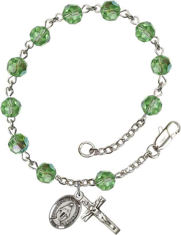 Bliss Mfg Peridot Swarovski Crystal 6mm Round Catholic Prayer Rosary Bracelet