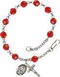 Bliss Mfg Ruby Red Swarovski Crystal 6mm Round Catholic Prayer Rosary Bracelet