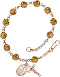 Bliss Mfg Topaz Swarovski Crystal 6mm Round Catholic Prayer Rosary Bracelet