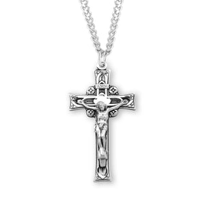 HMH Religious Ornate Deep Relief Sterling Silver Crucifix Pendant Necklace