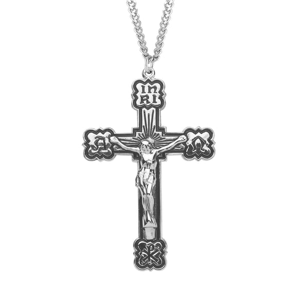 HMH Religious Alpha and Omega Enameled Sterling Silver Crucifix Pendant Necklace