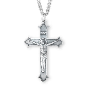 HMH Religious Flared Tipped INRI Sterling Silver Crucifix Pendant Necklace
