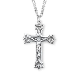 HMH Religious Large Gothic Scroll Style Sterling Silver Crucifix Pendant Necklace