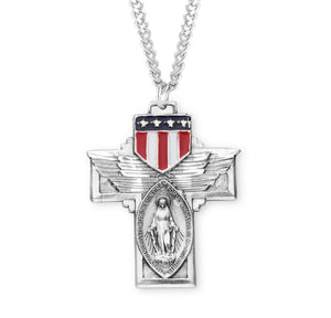 HMH Religious Military Miraculous Medal Epoxy Shield Sterling Silver Pendant