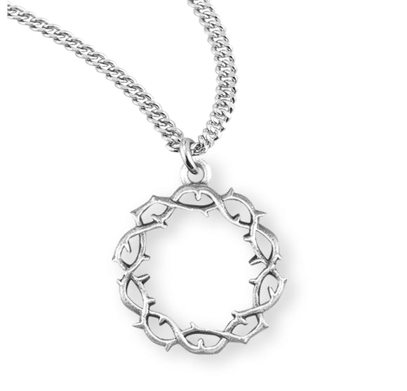 HMH Religious Crown of Thorns Sterling Silver Pendant Necklace w/Chain