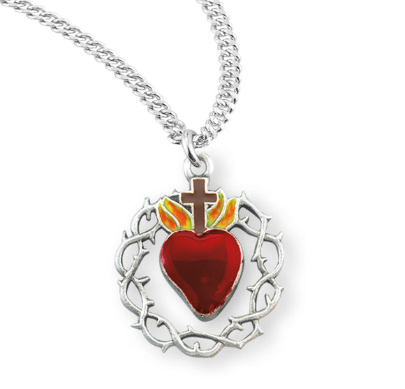 HMH Religious Red Flamed Heart Crown of Thorns Sterling Silver Pendant Necklace w/Chain