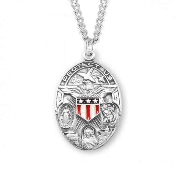 HMH Religious Oval Military 3-Way Cross Epoxy Shield Sterling Silver Pendant Necklace