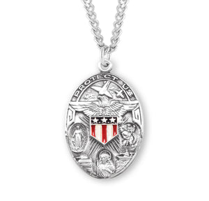 HMH Religious Military 3-Way Cross Epoxy Red, White & Blue Sterling Silver Pendant Necklace