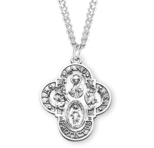HMH Religious Military Sterling Silver Air, Land, & Sea 4-Way Cross