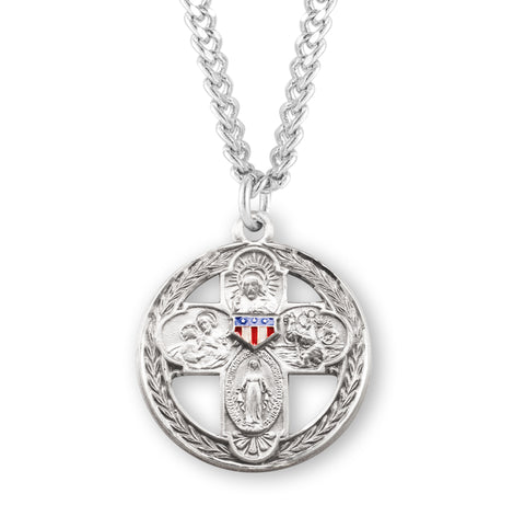 HMH Religious Air, Land & Sea Four-Way Red, White, & Blue 4-Way Cross Necklace