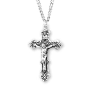 HMH Religious Filigree Scroll Relief Design Sterling Silver Crucifix Pendant Necklace