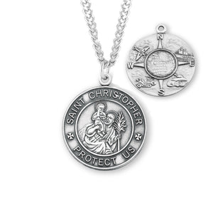HMH Religious St Christopher Air, Land & Sea Military Sterling Silver Medal Necklace
