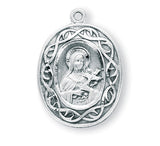 HMH Religious Crown of Thorns Saint Therese of Lisieux Sterling Silver Medal Necklace w/Chain