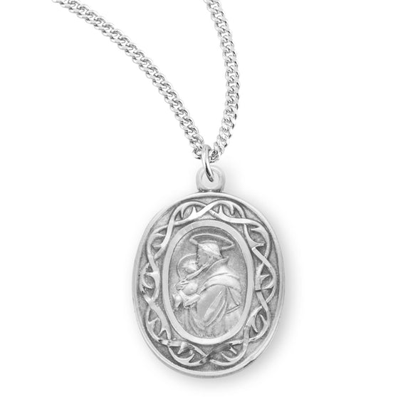 HMH Religious Crown of Thorns Saint Anthony Sterling Silver Medal Necklace w/Chain