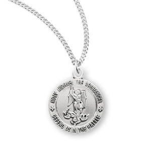 HMH Religious Small Silver St Michael Archangel Defend Us in Battle Medal Necklace