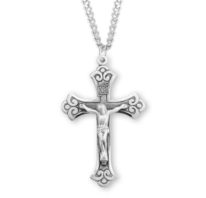 HMH Religious Flared Swirl Tipped Sterling Silver Crucifix Pendant Necklace