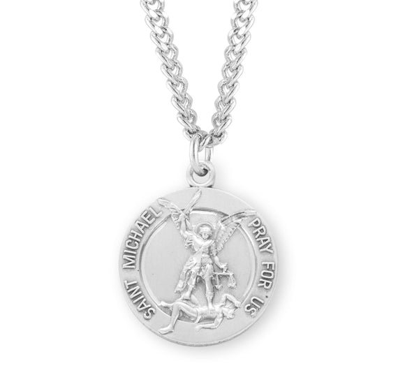 HMH Religious St Michael Archangel w/Guardian Angel Sterling Silver Medal Necklace w/24