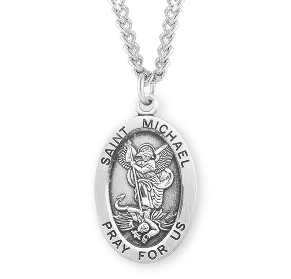 HMH Religious Oval St Michael Pray for Us Sterling Silver Medal Necklace w/24