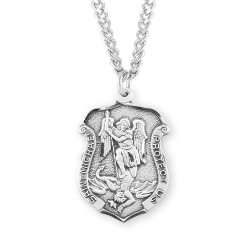 "HMH Religious Badge Shaped St Michael Sterling Silver Medal Necklace w/24"" Chain"