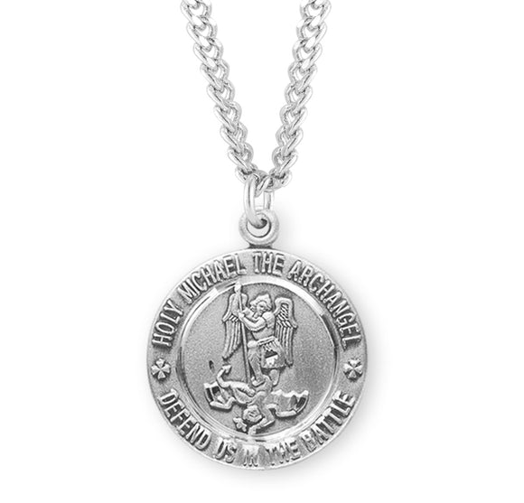 HMH Religious Round St Michael Defend us in Battle Sterling Silver Medal Necklace w/24
