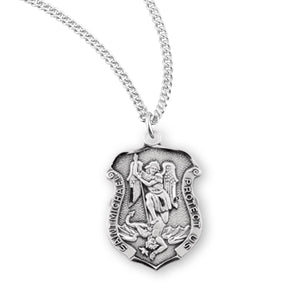 "HMH Religious Tiny Badge Shaped St Michael Sterling Silver Medal Necklace w/18"" Chain"