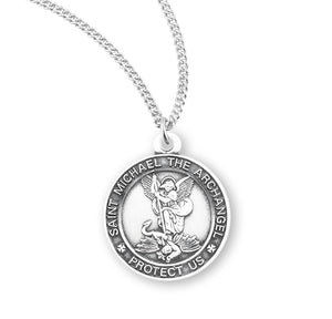 "HMH Religious Small St Michael Sterling Silver Saint Medal Necklace w/18"" Chain"