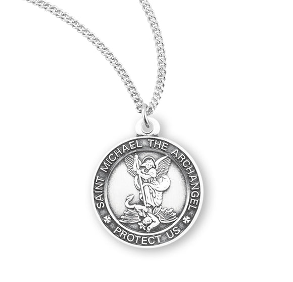 HMH Religious Small St Michael Sterling Silver Saint Medal Necklace w/18