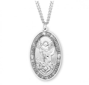 "HMH Religious Large St Michael Defend us in Battle Sterling Silver Medal Necklace w/24"" Chain"