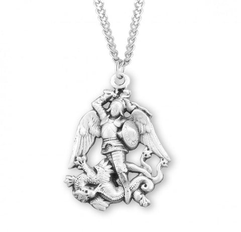 "HMH Religious Figure Shaped St Michael Sterling Silver Medal Necklace w/24"" Chain"