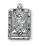 "HMH Religious St Michael Defend us in Battle Sterling Silver Medal Necklace w/24"" Chain"