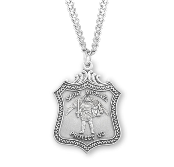 HMH Religious Shield St Michael Archangel Saint Sterling Silver Necklace w/Chain