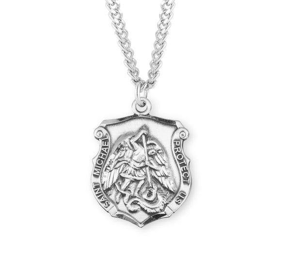 HMH Religious Badge St Michael Sterling Silver Saint Medal Necklace w/24