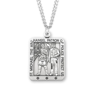 "HMH Religious St Michael Police Officer Sterling Silver Medal 24"" Chain Necklace"