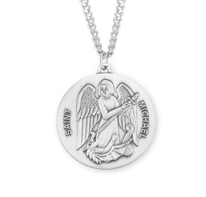 "HMH Religious Round St Michael Sterling Silver Saint Medal Necklace w/24"" Chain"